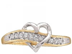 10 Karat Two Tone Fashion heart ring