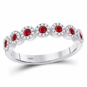 0.50 c.t.w Diamond and Ruby Stackable Band in 10kt White Gold