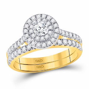 1.00 c.t.w Round Diamond Halo Bridal Wedding Ring Set in 14 Karat Yellow Gold
