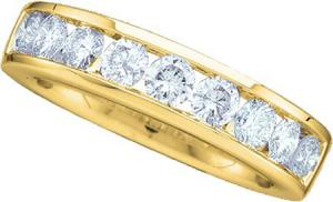 1.00CT Diamond Ladies Wedding Band -A litany of sparkling  diamonds come together to form this striking Band that has its foundation in 14 karat yellow gold. Total diamond weight here equals 1 carat (ctw).Also available in white gold.