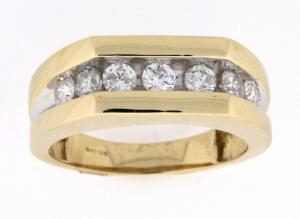 1.0 CTW Diamond Band - Symbolic of your vow to love and cherish him, this 14 karat yellow gold men's wedding band is a style he will cherish for a lifetime. Creating the pristine and handsome look, seven round diamonds, together totaling 1 cts., float across the  band. complete this magnificent look