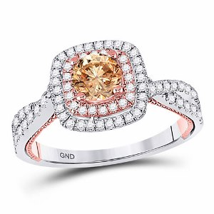 1.00 c.t.w Diamond Fashion Ring with 0.33 c.t Center Brown Diamond in 14 Karat Rose Gold