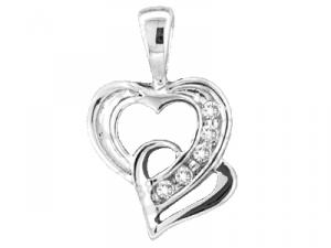 0.05CT ROUND DIAMOND HEART LADIES PENDANT WITH CHAIN -This gorgeous pendant features two interlocking hearts embellished with 0.05 carat (ctw) of beautiful diamonds. This white gold hearts make for a stunning design.