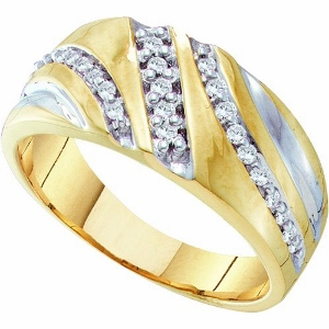1/4 ctw Men's Diamond Ring - Bold style with impressive shine, this men's 10K gold ring truly makes an ostentatious impression in the most handsome display. Creating the look and leads up to the 1/4 ct. t.w. diamond .
