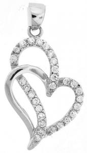 Silver Heart pendant with clear CZ- with chain.