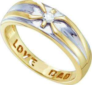 0.005CT DIAMOND MENS DAD RING, 10 KARAT TWO TONE GOLD MEN'S