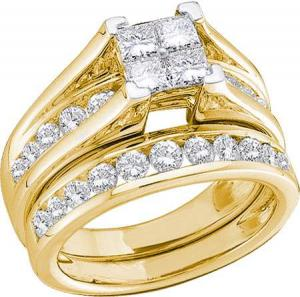 1 CTW Diamond Bridal Set. Ring has Multisone Princess Cut Center and Channel set Round Diamonds