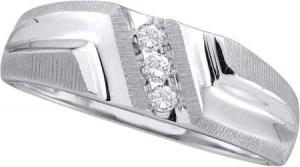 1/10 CTW Diamond Band - Round diamonds totaling 1/10 carats slant along 10  karat white gold forming a handsome men's wedding band for the man whose love calls for bold expression.