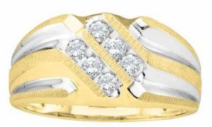 0.25 ctw Mens Diamond Ring-Presenting a remarkable design and unsurpassed brilliance, this 10 kt two tone gold men's band is unparalleled with handsome elegance and sweet thoughts of love. Totaling a brilliant 0.25 ct., round diamonds diagonally line the band.