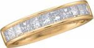 1/2 Carat Total Weight Princess Cut Diamond Band                           -                 14 karat yellow gold form a beautiful bond in this diamond anniversary band that also flaunts a single row of quality brilliant princess cut diamonds (1/2 carat (ctw).