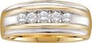 1/2 Carat Total Weight Men's Diamond Ring -A lifetime of happiness starts with sweet wedding vows. Seal your commitment to him with a 14 karat two-tone gold wedding band that is just his style. Emitting pristine brilliance at the center, five round diamonds in an invisible-like setting totaling 0.50 carats reflect light within the white gold band. Completing the look, warm yellow gold barriers display intriguing contrast along the edging.