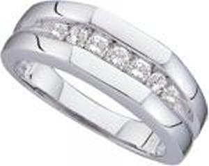 1/2 Carat Total Weight Men's Diamond Ring -Seven equally-sized diamonds totaling ½  ct. make a bold statement about the strength of your love for each other. Set in 14K white gold, the diamonds form a men's wedding band crafted to last throughout the years.