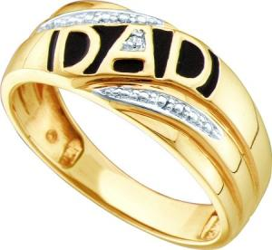 0.005CT DIAMOND MENS DAD RING.For all the memories, advice and help he's given you over the years, celebrate dad. This great ring is all about him and the great things he does for you. Just for dad, in yellow gold, this ring is a big look he will appreciate day after day.