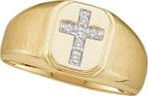 Diamond Cross Ring -Whether as a wedding band or a fashionable choice for his right hand, this men's 10 karat yellow gold  ring holds as wealth of meaning and design elements. A satin finish gives a softer style to the ring to best display a cross filled with round diamonds.Also available in white gold