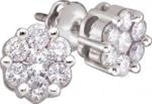 1/2 Carat Total Weight Round Diamond Earrings -Stunning diamond stud earrings featuring fourteen shimmering brilliant diamonds crafted in shiny 14 karat white gold making these 1/2 carat (ctw) earrings as extravagant