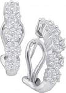 1 Carat Total Weight Diamond Earrings - Light up her smile in this perfectly sparkling 14K white gold floral arrangement. Blooming beautifully in round diamonds, a delicate flower shimmers. Round diamonds cluster together to create each earring bouquet. These 1.00 carat. diamond treats make a stunning choice for so many occasions
