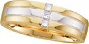 1/7 Carat Total Weight Men's Diamond Ring -This men's 1/7ct. t.w., 14K two-tone gold bypass ring has three princess cut  diamonds. Completing the look, warm yellow gold barriers display intriguing contrast along the edging.