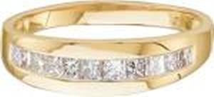 1/2 Carat Princess Cut Diamond Ring -This 14K yellow gold men's wedding band has  princess cut diamonds in a channel setting. The ring has a polished finished with total carat weight of 0.50