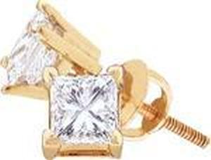 3/4 CTW Princess Cut Diamond Stud Earrings with Screw Backs - These classic diamond earrings flaunt a 3/4 carat (ctw) worth of sparkling princess cut diamonds, crafted in 14 karat yellow gold and compliment just about any style you can throw at them. Also available in white gold.