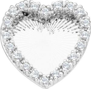 0.15CT DIAMOND HEART PENDANT WITH CHAIN - Clear diamonds share the stage with black ones in this delectable diamond heart pendant necklace set in gleaming white gold. Total carat weight is 0.15 carat (ctw).