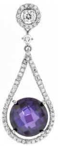 Colored CZ pendant shines on this glamorous necklace made of sterling silver