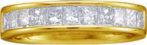 1.0  CTW Princess Cut Channel Set Diamond Band                           -                                  14 karat yellow gold form a beautiful bond in this diamond anniversary band that also flaunts a single row of quality brilliant princess cut  diamonds (1 carat (ctw).