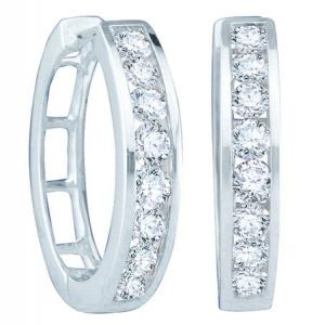 0.25 CTW ROUND DIAMOND LADIES FASHION HOOPS EARRINGS - Blissful diamonds envelop these 14 karat white gold hoop earrings enviably, fashioning a chic look that stands second to none. Enjoy ordering yours today!
