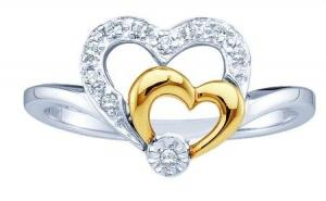 0.08CT DIAMOND HEART LADIES RING -Two cut hearts within with a contrast of yellow gold is flaunted with diamonds to make this adorable piece.