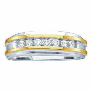 0.25 CTW ROUND DIAMOND MEN'S FASHION BAND -Double display of yellow gold ribbons decorate both sides of the design with a noticeable color contrast and a sleek, polished finish. He'll feel handsome in this round diamonds totaling 1/4 carats