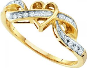 0.10CT DIAMOND FASHION RING -This stunning heart ring has a beautiful heart  based in 10 karat yellow gold and a swirl of round diamonds take it to the next level this stunning ring to show your true love. Also available in white gold.