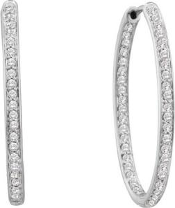 1.01CTW ROUND DIAMOND LADIES FASHION HOOPS EARRRINGS