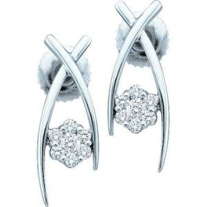 0.24CT Diamond Ladies Flower Earrings.Give her flowers that will never fade, with these beautiful and unique diamond flower earrings in 14 Karat White Gold.