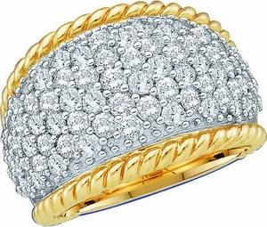 2.00 CTW PAVE SET ROUND DIAMOND LADIES BAND                                                             -                                    This 10 karat yellow gold  band emblazons  striking rows of pave set diamonds that sparkle across glistening the the white gold shank. Simple and alluring, total diamond weight here equals 2.00 carat (ctw), for this semi-eternity band.                                            -