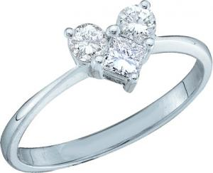 0.52CT ROUND AND PRINCESS CUT DIAMOND LADIES HEART RING -One of a kind piece for the special someone who will be impressed with beautiful engagement ring which has a base in 14 karat white gold and diamonds weighing upto 0.52 carats stay true to your words order one today ! Also available in yellow gold