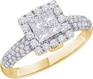 1.0CTW ROUND AND PRINCESS DIAMOND LADIES INVISIBLE RING