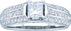 1.00 CTW Diamond Engagement Ring With 0.40CT Princess cener - Fit for those extremely extravagant occassions, this special 14 karat white gold ring emblazons a sparkling princess cut diamond  as well as a secondary collection of  round diamonds set along the glittering sides. Total diamond weight equals 1.00 ctw