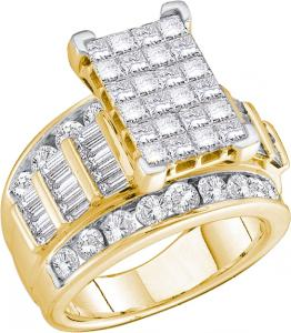3.00 CTW Princess Cut, Baguette, and Round Diamond Ladies ring -This ring is a melting pot of differently cut diamonds thrown in together in a way that can only suggest perfection. Made with 14 karat Yellow gold, baguette and brilliant diamonds combine shimmering powers and additionally highlighted with princess cut diamonds at the center to deliver a 3.00 full carat (ctw) ring.