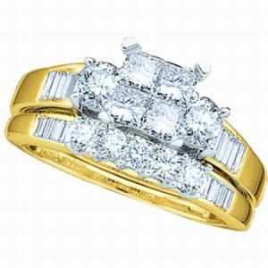 1.00CT Diamond Invisible Bridal Set With 4 Stone Princess Center Crafted in striking 10 karat Yellow gold, this engagement ring and wedding band set comes equipped with a wide array of sparkling diamonds playing supporting cast to a central luminous stone. Total diamond weight here equals 1.00 carat (ctw).