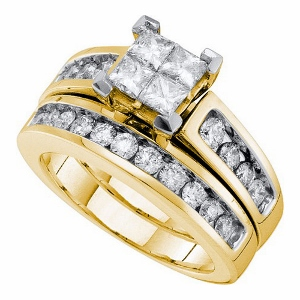 1.50 c.t.w Diamond Invisible Bridal Set in 14 Karat Yellow Gold