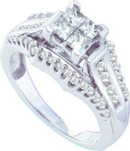 1.00CT DIAMOND LADIES INVISIBLE RING - A litany of sparkling  diamonds  and princess cut diamonds come together to form this striking Band that has its foundation in 14 karat white gold. Total diamond weight here equals 1.00 carat (ctw).