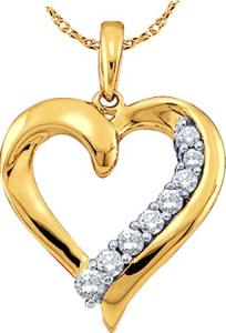 0.25CTW ROUND DIAMOND LADIES HEART FASHION PENDANT WITH CHAIN - The rich glow of 10 karat yellow gold never fails to convey a sense of romance and grace. This beautiful pendant features a stylish heart design sparkling with eight radiant diamonds. Commemorate your love and look great at the same time with this affordable piece