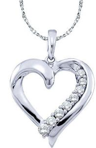 0.25 CTW ROUND DIAMOND LADIES HEART PENDANT WITH 18