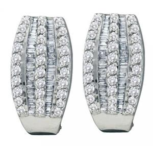 1.00CTW BAGUETTE ROUND DIAMOND LADIES FASHION EARRINGS