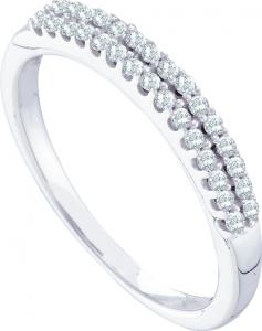 0.20CT Diamond Fashion Band -Sleek and shiny molded  in pure 14 karat white gold very elegantly crafted in sparkling white diamonds set in two rows make this a perfect piece not to be missed.
