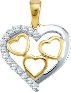 0.18CT ROUND DIAMOND HEART PENDANT WITH CHAIN - The rich glow of 10 karat white gold never fails to convey a sense of romance and grace. This beautiful pendant features a stylish heart design sparkling with  radiant diamonds.