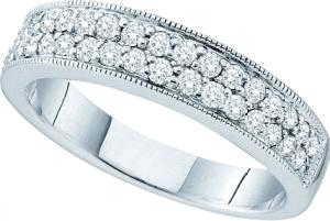 0.46CTW Round Diamond Ladies Fashion Band -A litany of sparkling  diamonds  come together to form this striking Band that has its foundation in 14 karat white gold. Total diamond weight here equals 0.46  carat (ctw).