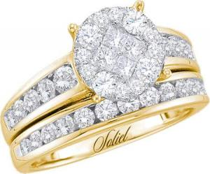 1.00 CTW DIAMOND LADIES BRIDAL SET WITH MULTI STONE CENTER                                       -                                           Dazzle your loved one with this ravishing and sleek 14 karat yellow gold engagement ring and matching wedding band set. Collection of round diamonds, and princess cut contributing towards a diamond weight of 1 carat (ctw).
