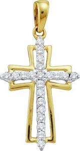 0.25CT DIAMOND LADIES CROSS PENDANT WITH CHAIN -Fashioned in 10karat yellow gold beautiful diamonds  beam brightly from within this angelic cross pendant complete with gold chain.