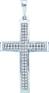 0.20CT DIAMOND CROSS PENDANT WITH CHAIN - Wear your faith in style with this beautiful two row  diamond cross pendant crafted in lustrous white gold. A delicate gold chain is also included.