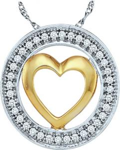 0.10CT DIAMOND HEART PENDANT - Beautiful circle of love and  warm heart within is all about this unique pendant enriched in 10 karat yellow gold  and sparkling diamonds come to a total weight of  0.10 carats is suspended with a 10 karat yellow gold chain